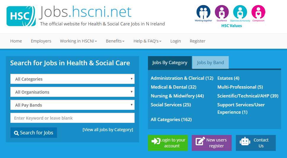 HSC jobs website homepage