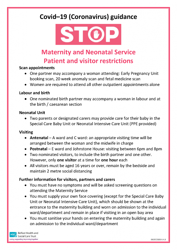 Maternity Visiting guidance